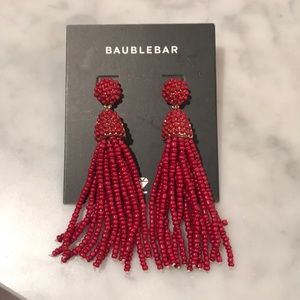 Red BaubleBar Dangly Beaded Earrings Pierced NEW
